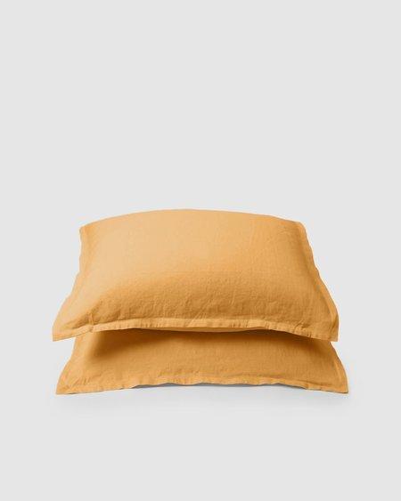 Shop Sunday Morning Marcel Linen Pair Pillowcases - Mustard