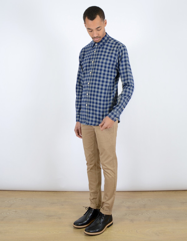 Men's Portuguese Flannel Serralves Shirt Blue Check