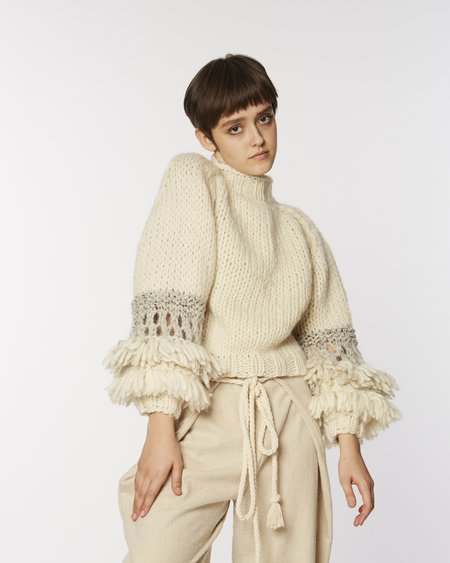 Maiami Fringed Balloon Sleeves Sweater
