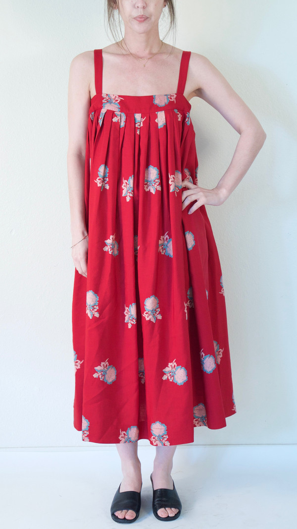 Horses Atelier Pleated Sundress in Red Peony