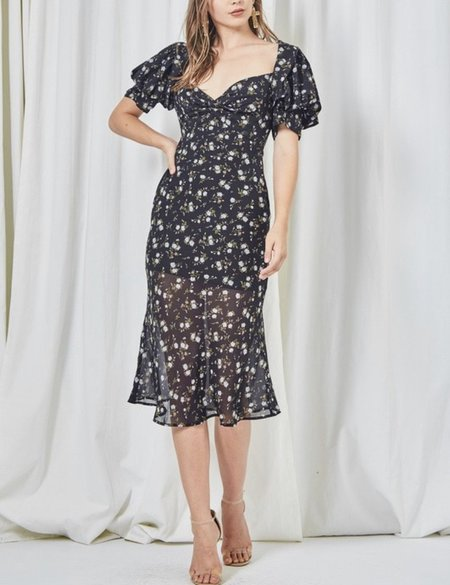 Etophe Studios Balloon Sleeve Dress - Black Floral
