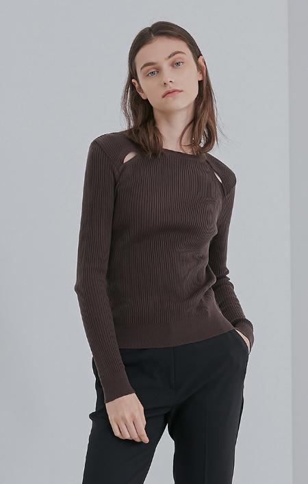 AMONG Slit Detail Knit TOP - Brown