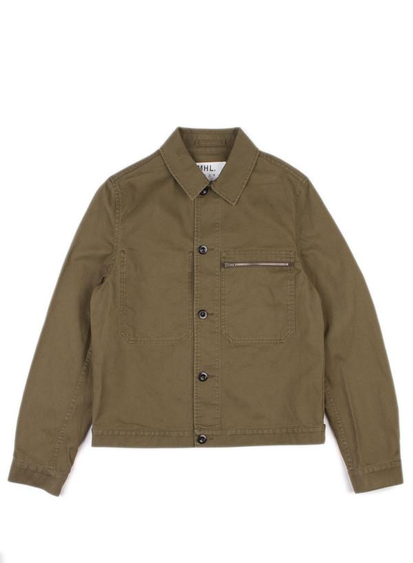 Men's MHL Margaret Howell Zip Pocket Jacket Japanese Drill Khaki