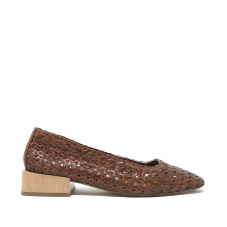 Miista Lena Woven Leather Mid-Heels - Brown