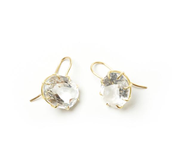 Rosanne Pugliese 18K Faceted Rock Crystal Vintage Earring