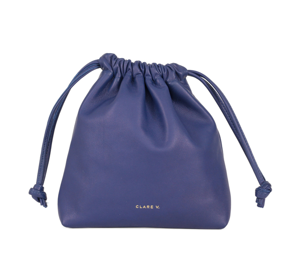Cobalt Nappa Drawstring Pouch  by Clare V.