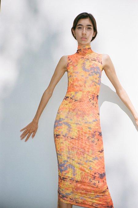 Priscavera Mesh Ruched Dress - Lava