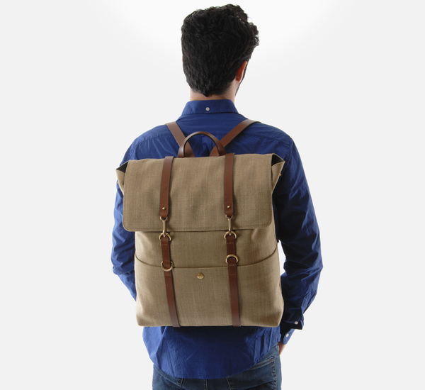 Oat Herringbone and Cuoio MS Backpack by Mismo