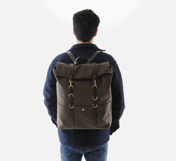 Army Green and Dark Brown MS Backpack by Mismo