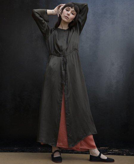 Ali Golden Long Sleeve BUTTON-DOWN MAXI DRESS - MUD