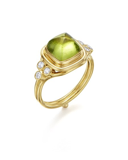 Temple St. Clair Classic Sugar Loaf Ring with Peridot and Diamonds - 18K Yellow Gold