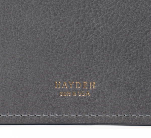 Hayden Leather Grey and Navy Leather File Folder