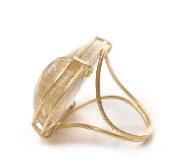 Rosanne Pugliese Large 18K Rutilated Quartz Cage Ring