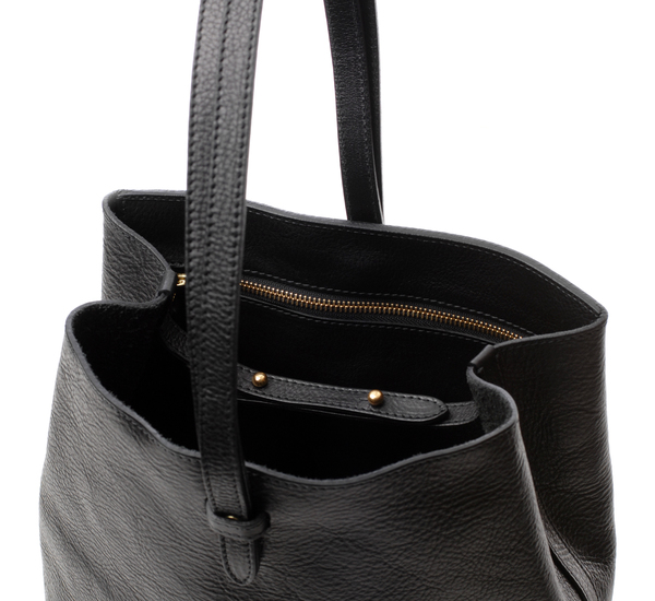 Black Leather Sling Backpack  by Lotuff Leather