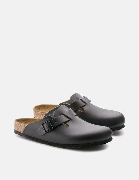 Birkenstock Boston Natural Leather Regular SANDALS - Black