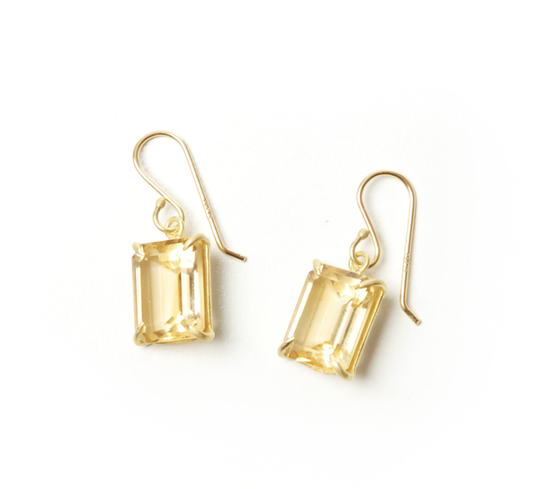 Rosanne Pugliese 18K Emerald Cut Faceted Champagne Citrine Earrings