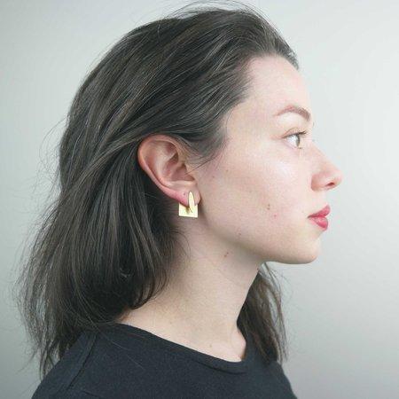 Natalie Joy Oval Square Ear Jacket - Brass