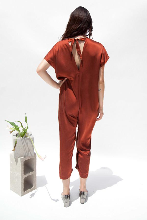 Miranda Bennett Everyday Jumpsuit, Silk Charmeuse in Claret