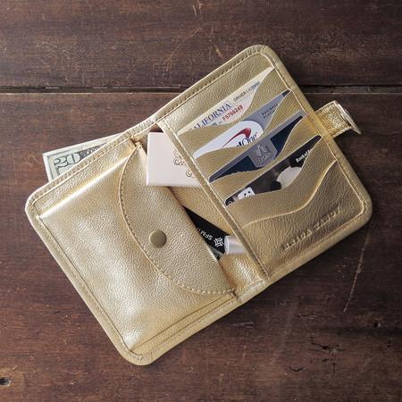 Erica Tanov metallic leather wallet - gold