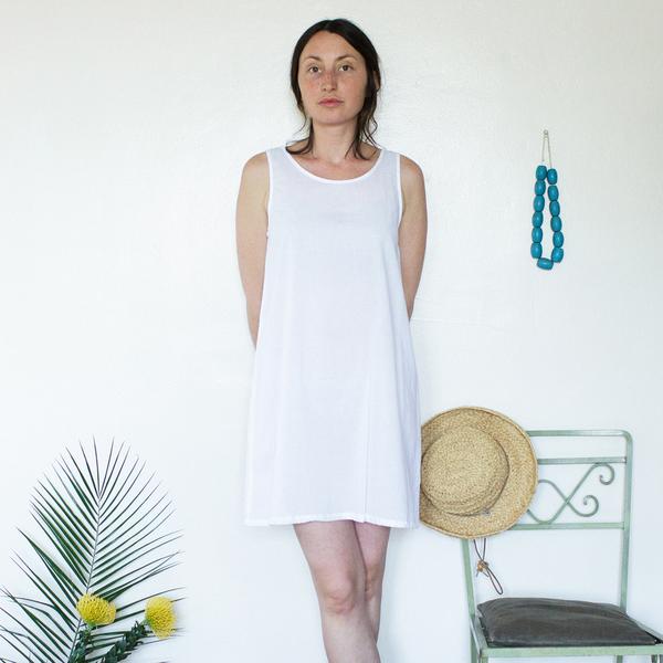 Unknown Tank Dress Slip<br>Lightweight Cotton White