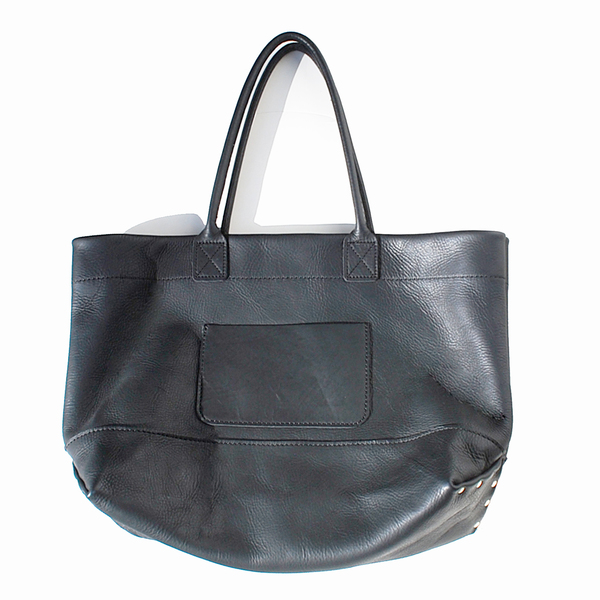 Unknown Leather Tote<br>Oiled Leather Black<BR>UNISEX