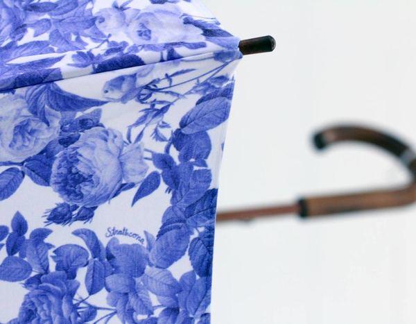 Strathcona Blue China Rose Handmade Umbrella