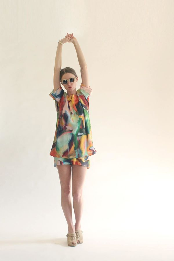 Strathcona Silk Shorts in Painted Gesture