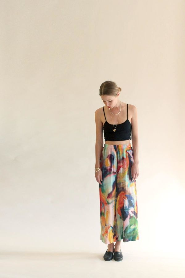 Strathcona Silk Culottes in Painted Gesture