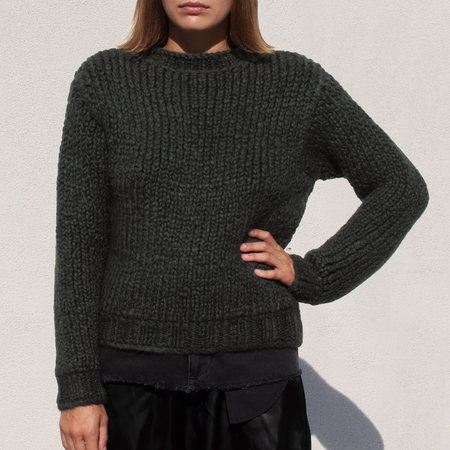 Priscavera Mock Neck Ribbed Sweater in Otter Green