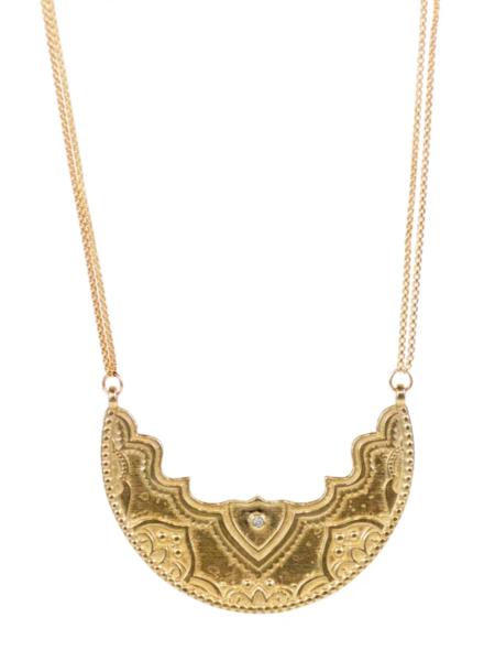 Lulu Designs Chandra Large Yellow Bronze Necklace with White Diamond