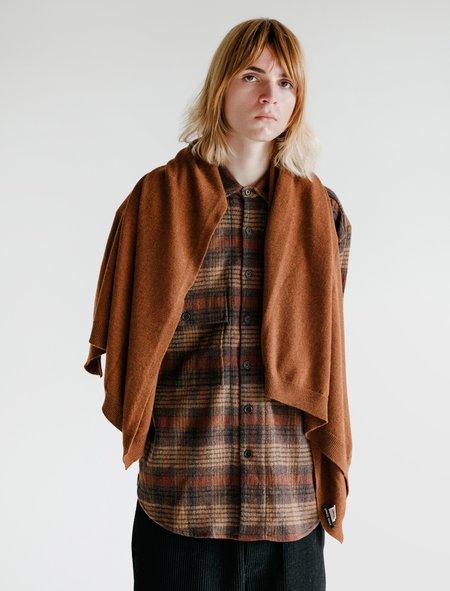 Evan Kinori Knit Shawl Cashmere Lambswool SCARF - Rust