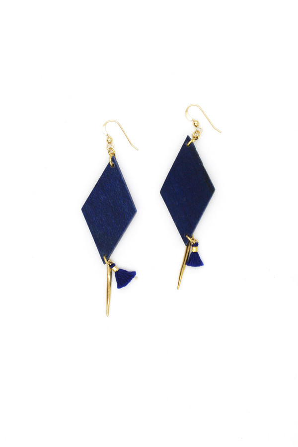 Sheila B Navy Wood and Tassel Earring
