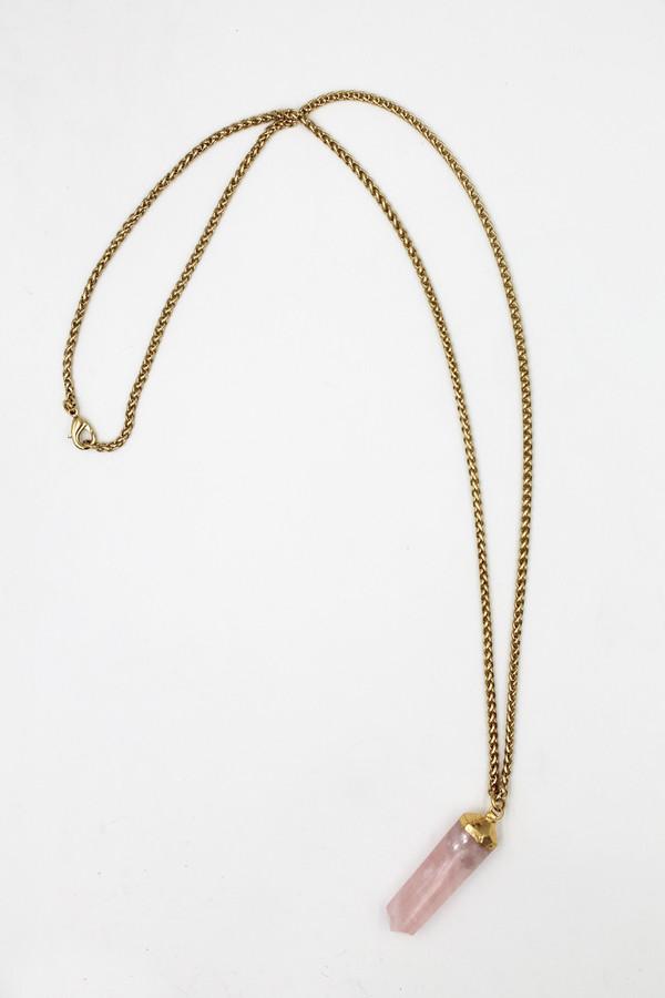 Sheila B Rose Quartz Pendant Necklace