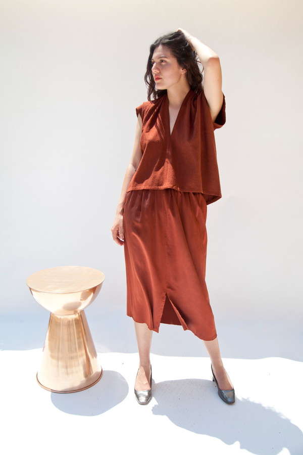 Miranda Bennett Everyday Top, Cropped, Silk Noil in Rust