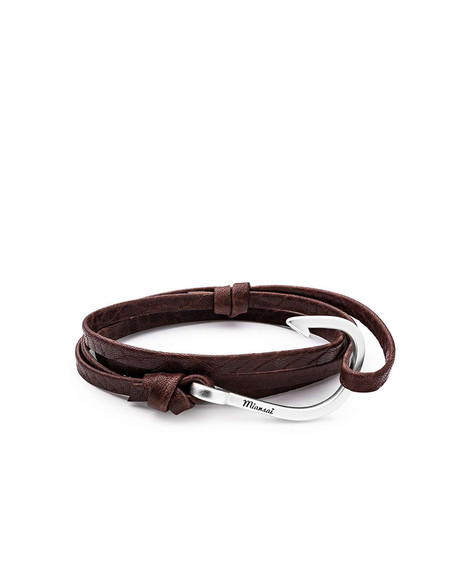 Miansai Hook on Leather Bracelet -  Silver Plated/Mojave Brown
