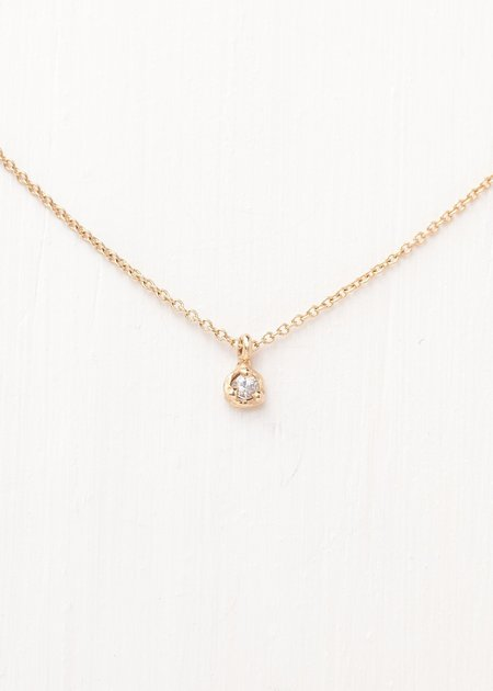 """Valley Rose Diamond Stella Necklace with 16"""" Gold Chain - Gold"""