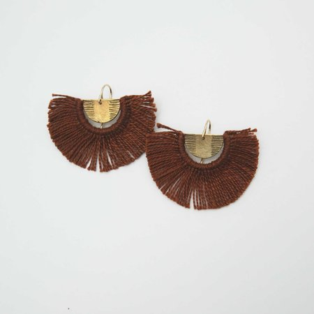 Rebekah J Designs Point B Fringe Earrings - Brass/Cocoa