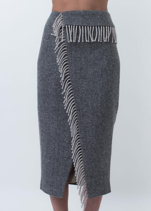 Nanushka Lake Fringe Wrap Pencil Skirt