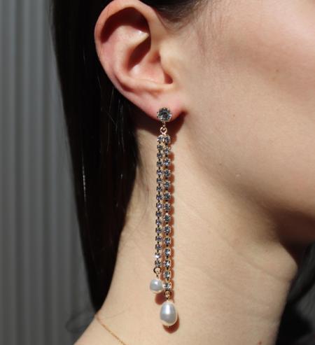Joomi Lim Asymmetrical Crystal & Pearl Earrings