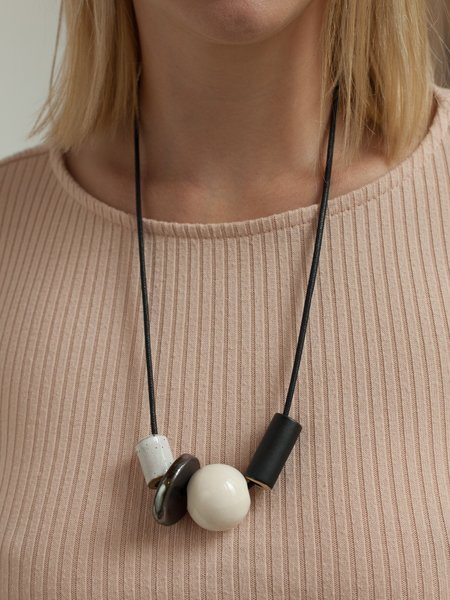 The Pursuits of Happiness Shapes Necklace - black