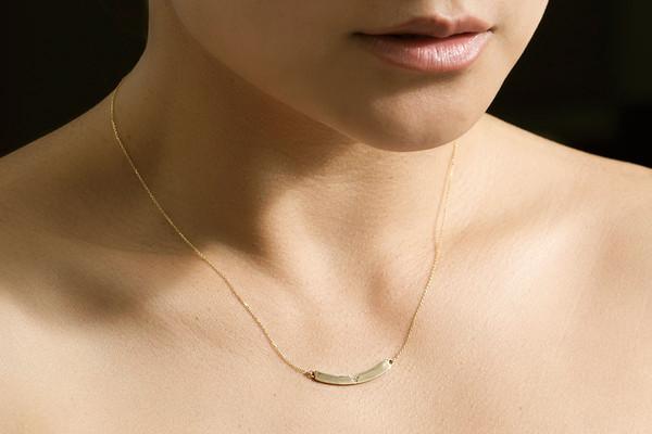 Jennie Kwon Designs White Diamond Curved Bar Necklace