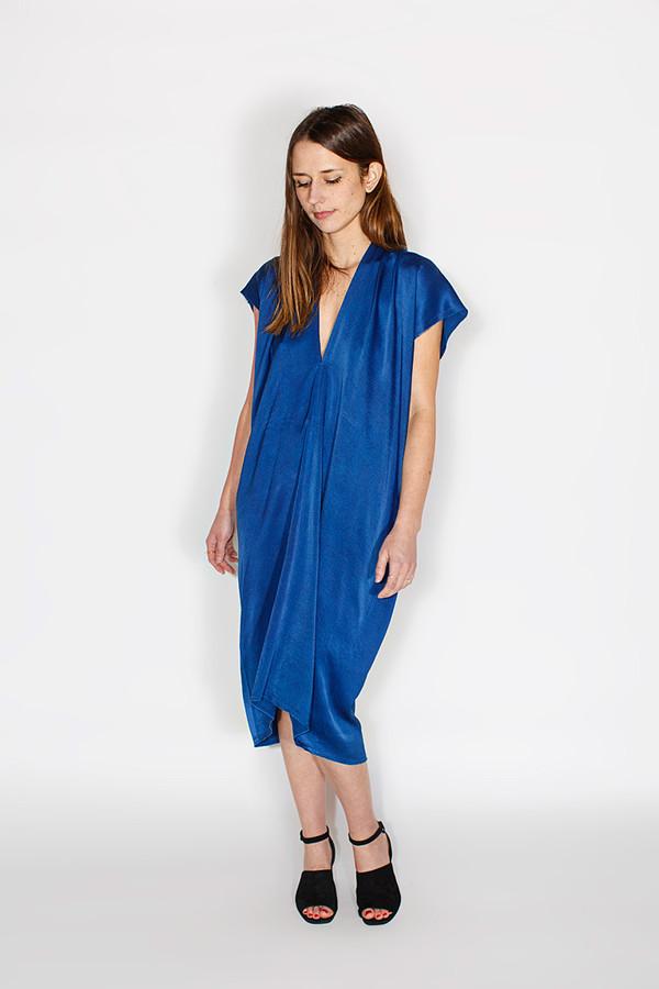 Miranda Bennett Everyday Dress, Silk Charmeuse in Indigo