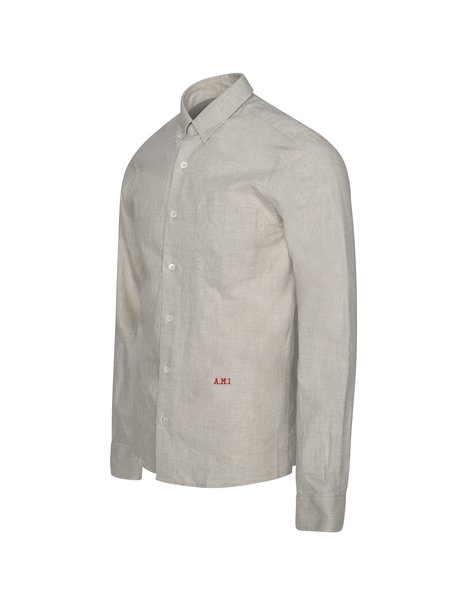 AMI Front Embroidery Slim Fit Button-Down Shirt - Light Grey