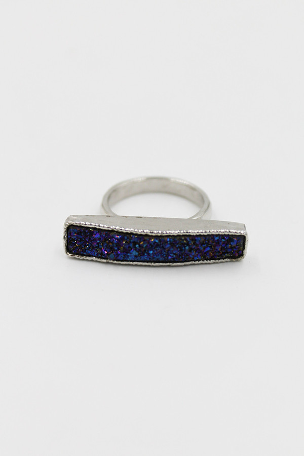 Sheila B Indigo Druzy Bar Ring