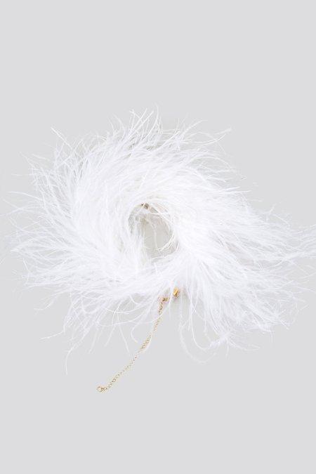 Rachel Comey Piuma Ostrich Feather Choker - White