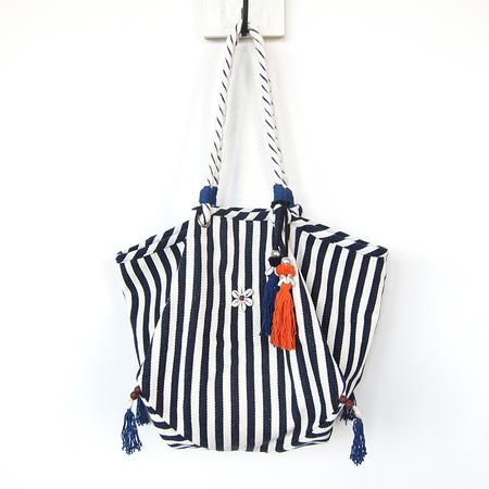 Jade Tribe Valerie rope beach bag - navy