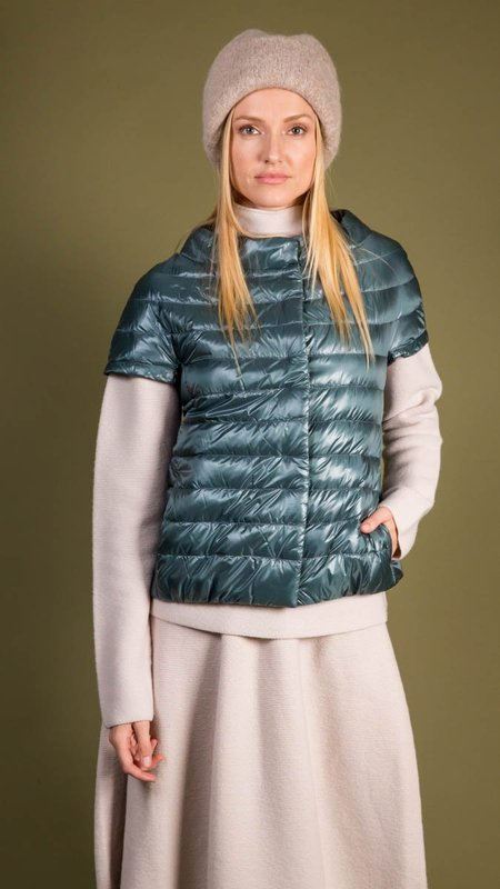 Herno Classic Cap Sleeve Down Puffer Vest - Teal