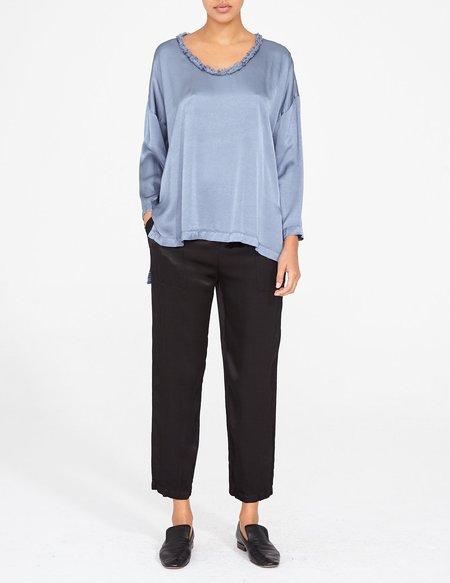 Raquel Allegra trapunto satin blouse - blue