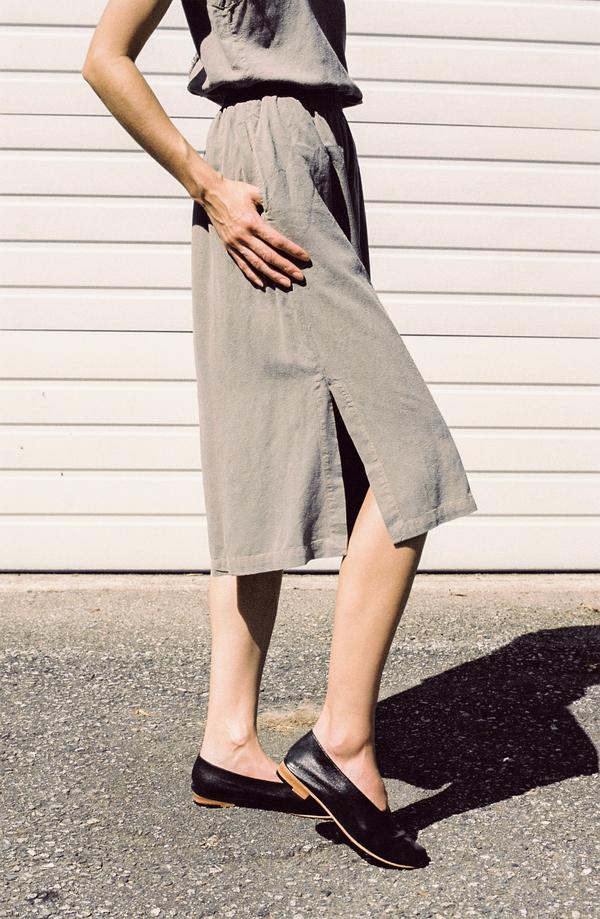 Black Crane Slit Wide Culotte - grey