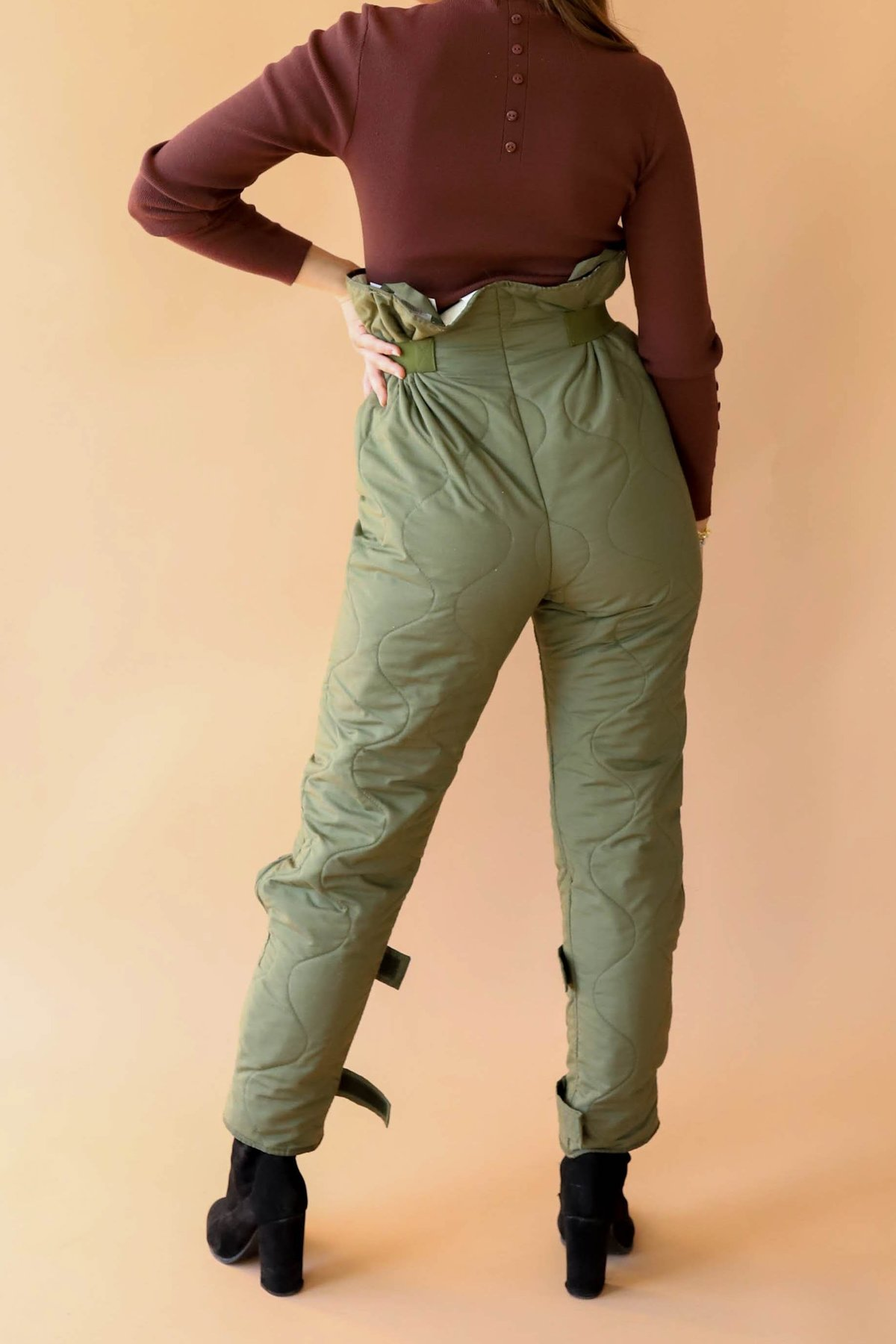 M Size Vintage Quilted Pants; Warm Unisex Pants; Army Green Pants; Thermal Pants; Quilted Pant Liner; Soldiers Pants; Military Underwear